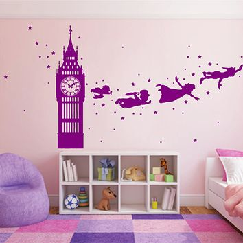 ik2802 Wall Decal Sticker Peter Pan fairy tale of Big Ben room children's bedroom