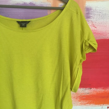 Bright Lime Green Super Crop Top Tee (Moda International)