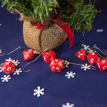 Red and White Dice Ornaments - Gamer Christmas Decorations with Green Crystal Accents