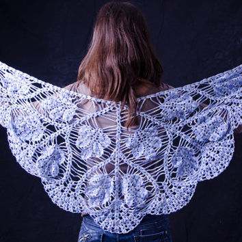 Crochet handmade triangle shawl blue flowers unique free shipping