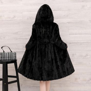 Natural Real Pieces mink fur coat female mink fur long overcoat hooded
