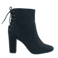 Kingdom Rear Corset Lace Up Tie Back, Ankle Bootie On Chunky Block Heel