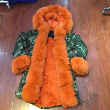 camouflage faux fur lining winter jacket orange fox fur hooded collar women parka 2016 New Arrival fashion style