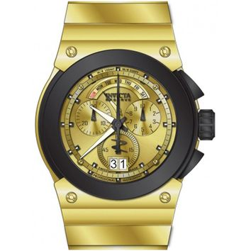 Invicta 14519 Mens Akula Reserve Gold Dial Gold Steel Bracelet Chrono Watch