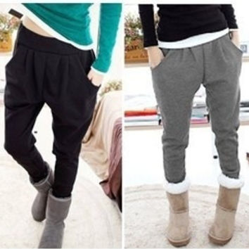 Autumn and winter women harem pants thickening velvet sports casual long trousers lady sports wear plus size = 1827663556