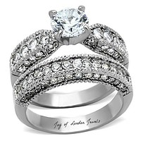 A Perfect Antique 1CT Round Cut Russian Lab Diamond Ring Bridal Set Band