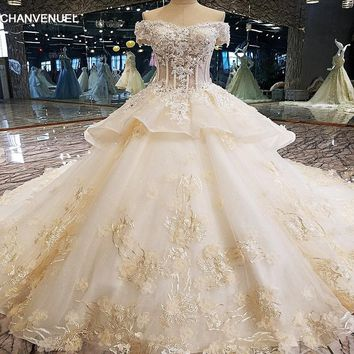 LS00128 Luxury wedding dress for bridal 3D flower beaded ball gown sleeveless lace wedding gown vestidos de noivas real photos