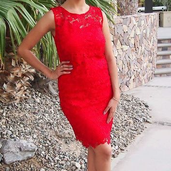 Enchanted Evening Red Illusion Lace Dress