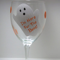 Handpainted Ghost Halloween Wine Glass