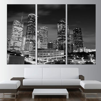 LARGE canvas print, wrapped stretched Downtown Houston skyline night canvas Art, large wall art, fine art wall art print canvas t185