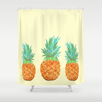 Pineapple Shower Curtain - Three Pineapples  Watercolor happy, yellow tropical fruit, shower curtain, pineapples, island fun