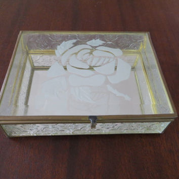 Vintage Glass Jewelry Box, Mirrored Interior, Etched Rose Lid, Moorish Design Sides