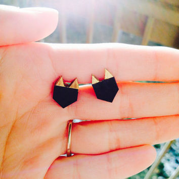 Gold Dipped Cat Stud Earrings Tiny Stud Earrings Geometric Earrings Hypoallergenic Dainty Earrings Small Stud Earrings SurgicalSteelEarring