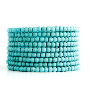 Turquoise Blue Beaded Coil Bracelet; Memory Wire Bracelet with Turquoise Beads; Boho Chic Jewelry; Elegant and Modern