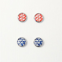Red / blue stud earrings, abstract patterns, Japanese washi ear stud, Chiyogami resin jewelry, hypoallergenic surgical steel, made to order