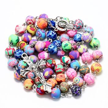 NingXiang 2017 New Arrival Polymer Clay Round Bead Catholic Rosary Necklace Statement Colorful Beads Cross Religious Necklaces