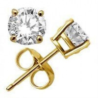2 ctw Created Diamond Round Basket Stud Earrings ~ 14k Yellow Gold over SS