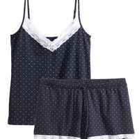 H&M - H&M+ Jersey Pajamas - Dark blue - Ladies