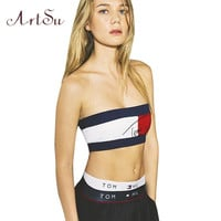 European Fashion Women's Sexy Sport Letters Printed T-Shirt Strapless Low-Cut Bras Wrapped Chest Crop Top ASVE10004