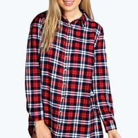 Ava Flannel Check Oversized Night Shirt