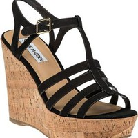 Steve Madden Nalla Black Leather Wedge Sandal - Jildor Shoes, Since 1949