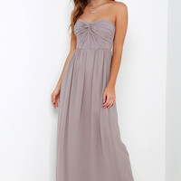 Sapphires or Rubies Taupe Strapless Maxi Dress