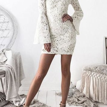 Casual White Floral Lace Zipper Flare Sleeve Band Collar Homecoming Mini Dress