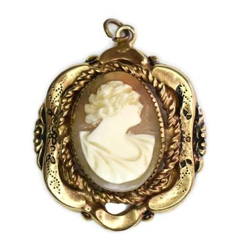 Victorian 10k Gold Shell Carved Cameo Pendant