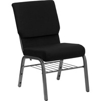 "Hercules 18.5"" Wide Black Church Chair 4.25"" Thick Seat Book Rack Silver Vein Frame"