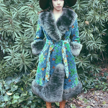 Sold - RESERVED FOR JEMIMA - Psychedelic Spring Rare 1960's One Of A Kind Tapestry Coat - Chenille Tapestry Coat -