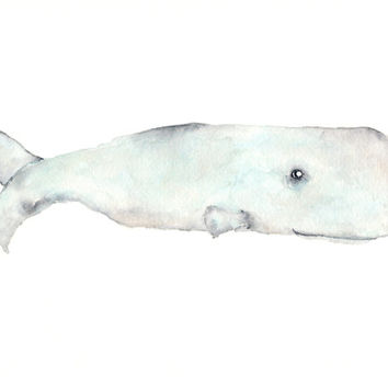 Whale painting, original watercolor painting, watercolor whale, beach painting, beach decor, sperm whale, beach art, nursery whale art, 10X8