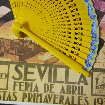 Spanish hand painted fan. Carved fan. Yellow and blue. Exclusive design.