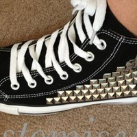 Pyramid Studded Converse Black - Silver Studs - £10 OFF TDAY from Lizzi476