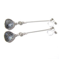Back Diamond Charcoal Framed Glass 'clip on earring' D1S Wedding Clip on earring Long Dangle Earring Drop Earring Non Pierced Earring