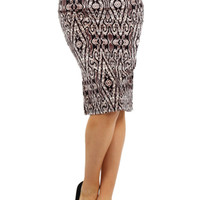 High Wasted Tribal Print Pencil Skirt