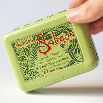 Vintage French Pastilles Tin Light Green. Art Nouveau Graphics Advertising Tin Metal Box. Antique Medical Candy Tin Box. Home Storage Small