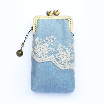 Phone Case gadget case - Light blue Linen and Lace ( iPhone 5, Samsung Galaxy s3  Samsung Galaxy S4 Size available)