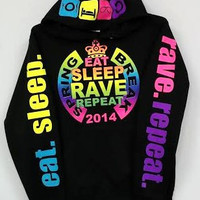 Spring Break 2014 - Pullover Hoodie - Eat, Sleep, Rave, Repeat Combo