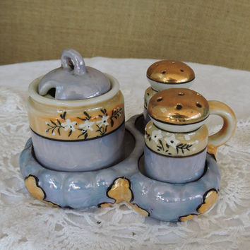 Vintage Made in Japan Hand Painted  Flower Blossom Porcelain  Blue Lustre Salt & Pepper Sugar Bowl Handled Tray Set