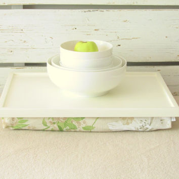 Laptop riser pillow tray, Lap Desk, Wood Breakfast serving tray- Light green with White and Green Vintage flower printed Linen Pillow