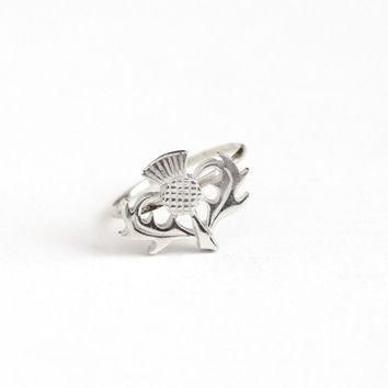 Antique Sterling Silver Top Scottish Thistle Stick Pin Conversion Ring - Size 6 Edward