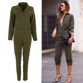 DCCKWJ7 Stylish Women Sexy Jumpsuit Long Sleeve Jumpsuits Cotton Rompers Clubwear Romper