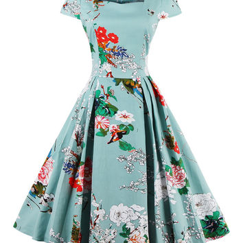 Light Blue Sweetheart Neck Cap Sleeve Floral Print Skater Dress