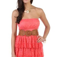 strapless lace dress with belted waist - debshops.com