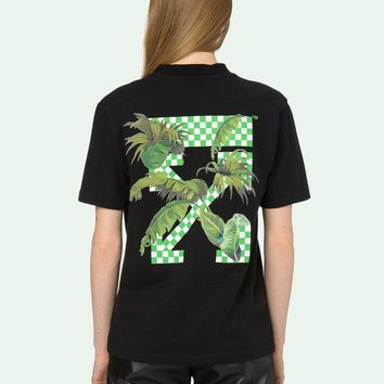 HCXX 19July 463 OFF WHITE Coconut Forest Pattern Cotton Causal Short Sleeve T-Shirts