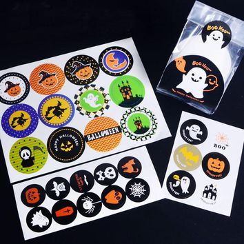 Leeiu 10 Sheets Pumpkin Ghost Selft-adhesive Stickers Halloween Party Decorations Kraft Sealing Stickers Paper Crafts