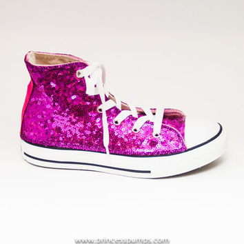 9b479370c4b9 Youth Size Hot Fuchsia Pink Sequin Converse Canvas Hi Tops Sneakers Tennis  Shoes