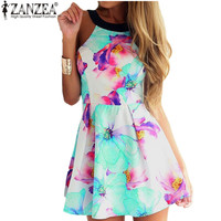 Fashion Women Sleeveless Backless Floral Printed Mini Dresses Beach Sundress Plus Size S-6XL