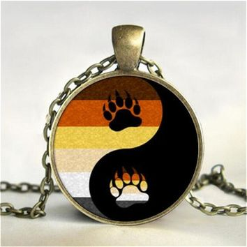 Bear Pride Yin Yang with Paw / Gay Pride Photo Charm Pendant/ Rainbow Necklace; Pendant w/Handmade Glass Dome