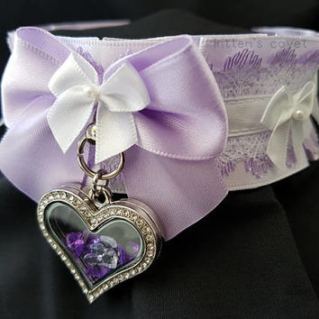 Lavender Pastel Purple and White Lace Heart Pendant Pleated Kitten/Pet Play DDLG BDSM Collar